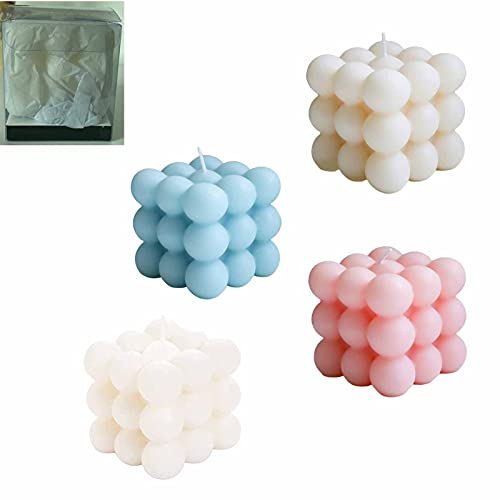 4PCS Scented Candles Gift Set for Women, Soy Wax Aromatherapy Candle, Bubble Cube Candle, Cute Geometry Bubble Cube Candle Soy Wax, Handmade Bubble Candle