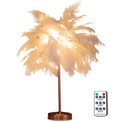 KingbeefLIU Luz de la noche Lámpara de Mesa de Pluma LED de Alambre de Control Remoto Sala de Estar Dormitorio Luz de Escritorio Decoración 4