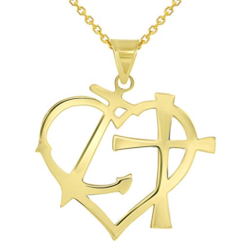 Solid 14k Yellow Gold Cross Anchor Heart Faith Hope and Love Silhouette Pendant Necklace, 18'