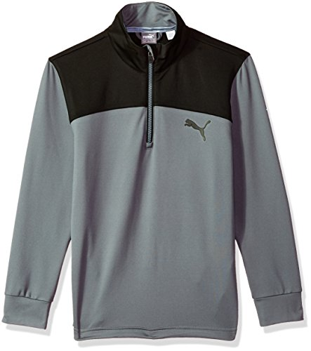 PUMA Golf Teen-Boys 2018 Colorblock 1/4 Zip Outwear, Quiet Shade, X-Large