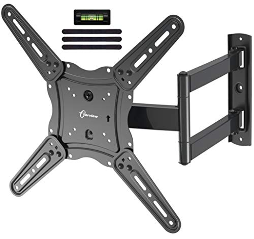 EVERVIEW TV Wall Mount Bracket fits to Most 26-55 inch LED,LCD,OLED Flat Panel TVs, Tilt Full Motion Swivel Articulating Arms, TV Bracket VESA 400X400, 77lbs Loading with Cable Ties