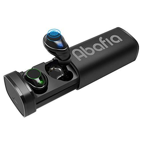 Abafia Auriculares Bluetooth, Auriculares Inalámbricos Mini Invisibles In Ear con Micrófono Incorporado Estéreo Auricular Deportivo Bluetooth 5.0 con Caja de Carga para Samsung/iPhone/Huawei (Negro)