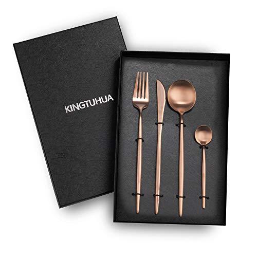 KINGTUHUA Juego de cubiertos de acero inoxidable, 4 piezas, en caja de...