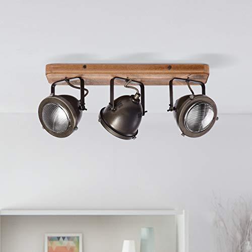 Lightbox - Lámpara de techo retro, regulable, 3 focos, lámpara de techo LED, orientable, casquillo GU10 para máx. 5 W,...