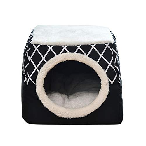 N/A/a Cueva de Cama de Gatito para Gatos y Perros-Cama de Gatito 2 en 1/cabaña de Gato/Cueva de Cama de Gato Cubierta, Camas Interiores para Perros y Gatos - Negro XL