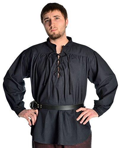 HEMAD Piratenhemd Mittelalterhemd Schnürhemd Hemd schwarz XL
