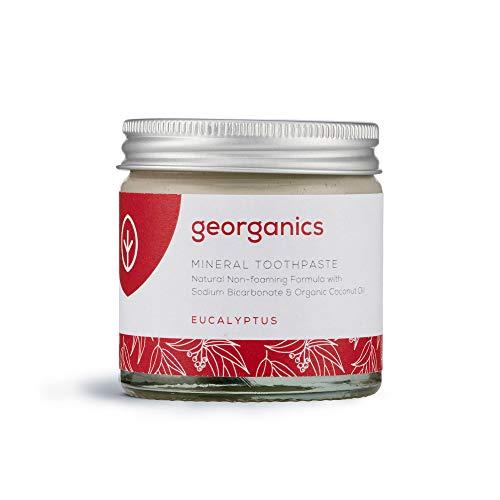 Georganics - Dentifrice Bio Riche en Vitamines et Minéraux - Formule Non Moussante à l'Huile de Noix de Coco Vierge Biologique - Vegan et Cruelty Free - sans Fluor et SLS - Eucalyptus - 60ml