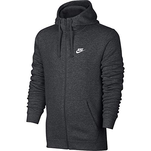 Men's Nike Sportswear Club Full Zip-Up Hoodie, Fleece Hoodie for Men with Paneled Hood, Charcoal Heather/Charcoal Heather/White, 2XL