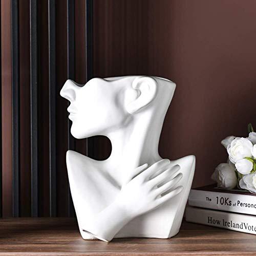 HXFAFA - Decoración artesanal para interior y exterior, diseño de plantas, cerámica, busto de cabeza de maceta para plantas, lado de inicio para jardín, escultura, jarrón bonsai arte B