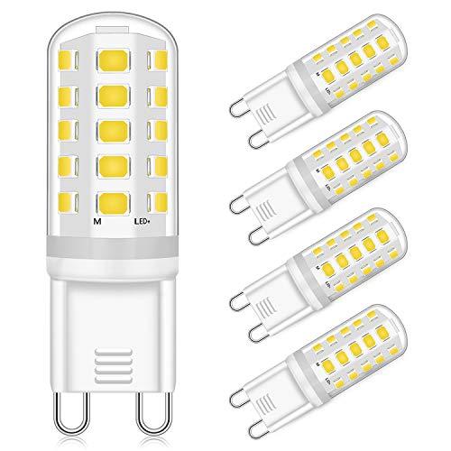 Bombilla LED G9 5W Regulable Equivalente a Lámpara Halógena de 40W 50W Blanca Neutra 4000K 4000K, 400LM, AC 220-240V, 4 Paquetes [Clase de eficiencia energética A ++]