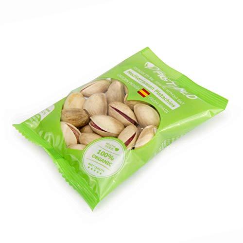 Pistachos ecológicos PISTAMED - 560 gramos. Tostado artesanal SIN SAL - Origen España (15+1 bolsas de 35 gr. = 560 gramos) 16 raciones de pistachos