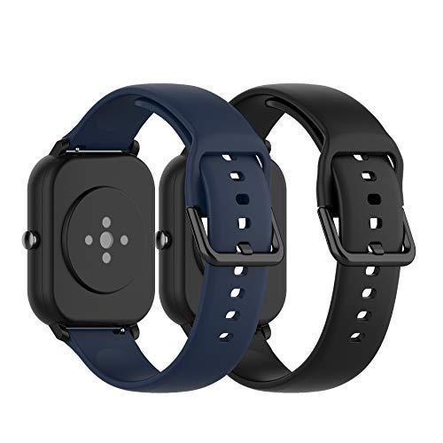 Ruentech Ersatzarmband Kompatibel mit Amazfit GTS/Amazfit Bip/Amazfit GTR 42mm/Samsung Galaxy Watch 3 41mm Band Armbänder Silicone Zubehör (small, Black+Dark Blue)