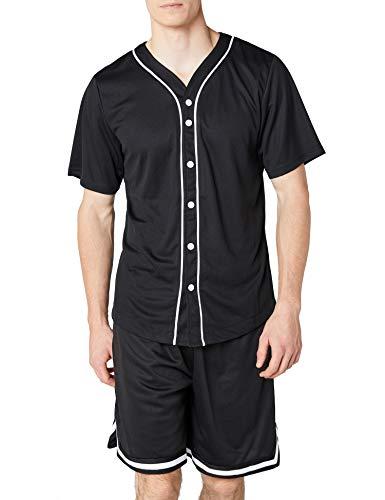 Urban Classics Mesh Jersey Camiseta Baseball con Botones a Presión, Negro (Black), S para Hombre
