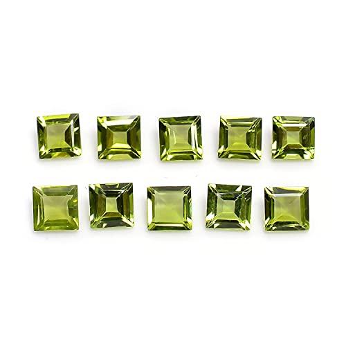 Neerupam Collection Lote de 100 piezas de peridoto natural de 3 mm con forma cuadrada tallada tallada para hacer joyas, piedras preciosas semipreciosas de calidad AAA de 3 mm cuadradas