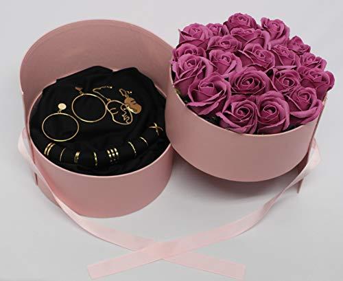Caja de doble capa – Regalo – Mujer – Joyas – Rosas – Relojes – Anillos – Pendientes – Collares – Pulseras – Color dorado