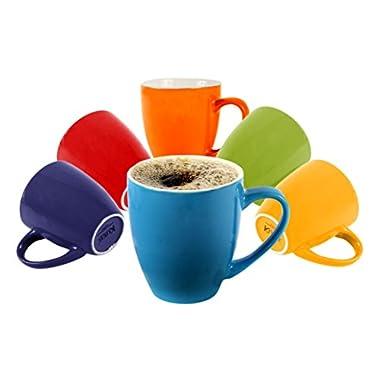 Klikel 6 Colored Coffee Mugs 16oz Flat Bottom Porcelain Dinnerware, Assorted Colors