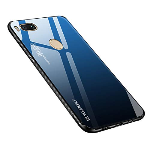 Funda para teléfono móvil Xiaomi Mi A1, cristal templado, parte trasera con marco de silicona TPU suave, color degradado, funda para Xiaomi Mi A1 / Mi 5X (Xiaomi Mi A1 / Mi 5X, azul y negro)