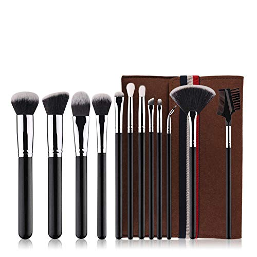 Pinceau de maquillage Set-12 Pcs Pinceau de maquillage Tool Set Black Fibre artificielle Makeup Brush Set Premium Synthetic Foundation Powder Concealers Ombres à paupières Blush Makeup Brushes