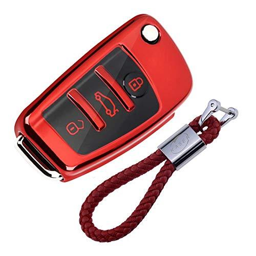 Autoschlüssel Hülle für Audi – Cover TPU Silikon Hochglanz Schutzhülle Schlüsselhülle für Audi A1 A2 A3 A4 A5 A7 Q1 Q3 Q5 TT (Rot)