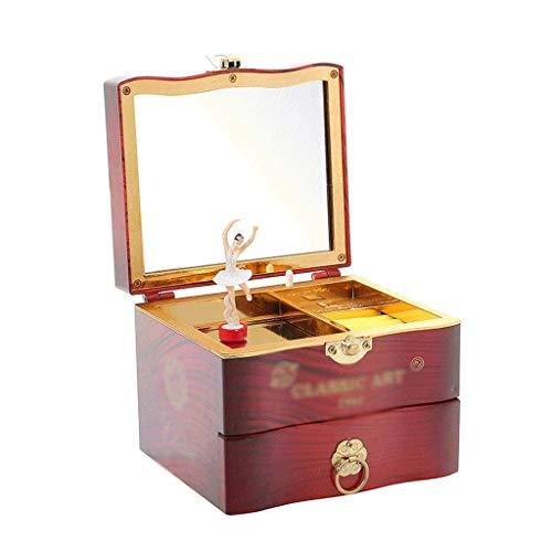 JJZXD Music Box-Caja de música Regalo de cumpleaños for la Caja de joyería de la Muchacha de la Bailarina Espejo, Material Duro, Violín Retro, reproducción aleatoria for niños DIFFMELY (Color : B)
