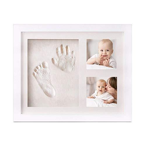PicoTinaS. Kit Marco de Fotos para Bebe con Huella de la Mano y el pie con Arcilla Blanca, Regalo Original para Recién nacidos