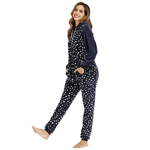 BIBOKAOKE Schlafanzug Damen Lang Kuschelig Jumpsuit Pyjama Einteiliger Overall Nachtwäsche mit Schleierkraut-Print Loungewear Hausanzug Mit Kapuze und Reißverschluss Sleepwear Strampler