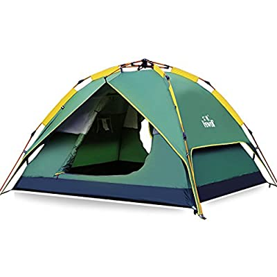 Hewolf Camping Tent Instant Setup - Waterproof Lightweight Pop up Dome Tent Easy up Fast Pitch Tent Great for Beach Backpacking Hiking (Green, 4 Person)