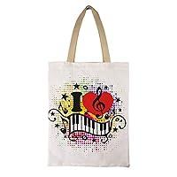 I Love Music Heart Note Piano エコバッグ 買い物袋 コンパクトバッグ コンビニバッグ 軽量 折りたたみ買い物バッグ 帆布 キャンバス 手提げ 肩掛け 収納 耐久 肩から提げれる 再利用