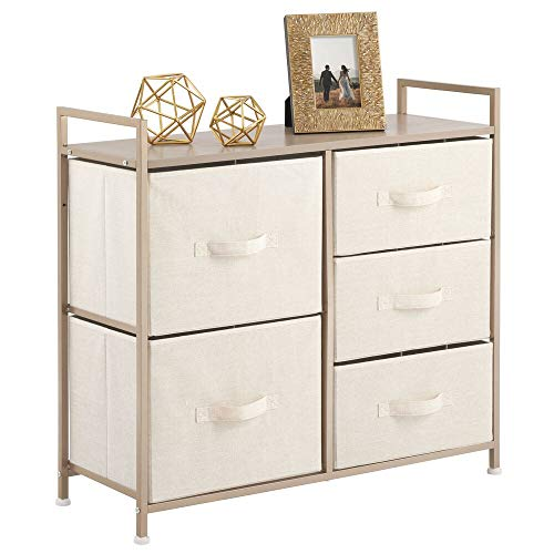 mDesign Wide Dresser Storage Tower - Sturdy Steel Frame, Wood Top, Easy Pull Fabric Bins - Organizer Unit for Bedroom, Hallway, Entryway, Closets - Textured Print, 5 Drawers - Cream/Gold