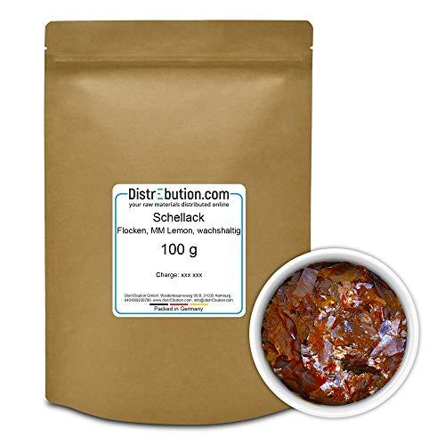 DistrEbution.com Schellack 100 g Lemon MM, wachshaltig in Flocken, Reiner Schellack mit natürlichem Wachs für Polituren, Lacke und mehr