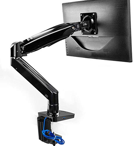 Monitor Mount Stand, Long Single Monitor Desk Mount for 22 to 35 Inch Computer Screens Height Adjustable with Clamp, Grommet Mounting Base, Holds 6.6 to 26.4 lbs