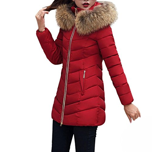 TWIFER Damen Mode Winter Jacke Lang Dick Warm Daunenjacke Slim Coat Overcoat (M, Weinrot)
