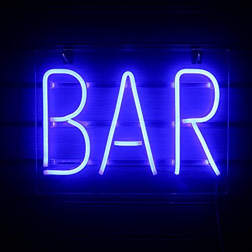 Blau Bar Leuchtreklame Led Neon Wandschilder Big Neon Letter Light USB Nacht Neonlicht für Bar Hotel Indoor Gaming Room Cocktail Bier Party Weihnachtshochzeitsschild