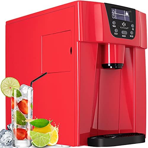 KESSER® Eiswürfelbereiter | Eiswürfelmaschine Edelstahl | 100W Ice Maker | 12 kg 24 h | 2 Würfelgrößen | Zubereitung in 6 min | 2 Liter Wassertank | Timer | LCD-Display | Wassertank Rot