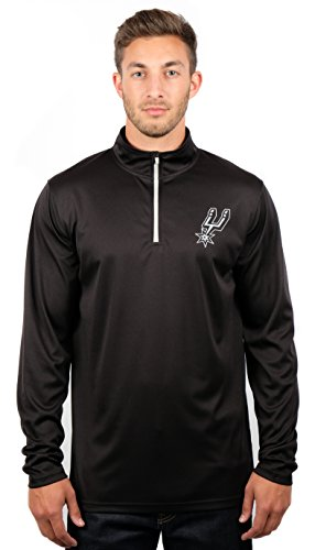 Ultra Game NBA San Antonio Spurs Mens Quarter-Zip Pullover Active Shirt, Heather Charcoal18, Medium