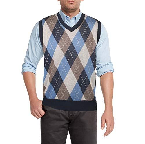 True Rock Men's Argyle V-Neck Sweater Vest (Navy/Tan/Blue, Large)