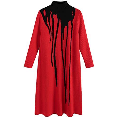 BINGQZ Rode gebreide jurk vrouwelijke winter nieuwe knie lange trui rok herfst en winter verdikking rok
