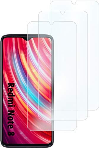 3 Pezzi, Vetro Temperato Compatibile con XIAOMI Redmi Note 8, Pellicola Prottetiva Anti Graffio, Anti-Impronte, Durezza 9H, 0,26mm Ultra Trasparente, Ultra Resistente