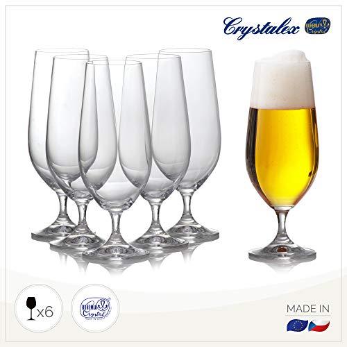 Pilsner Beer Glasses Set of 6 - English Pub Beer Glass for Drinking Craft, Belgian, German British Beer - Half Pint 12.8oz, Elegant, Crystal & Stemmed