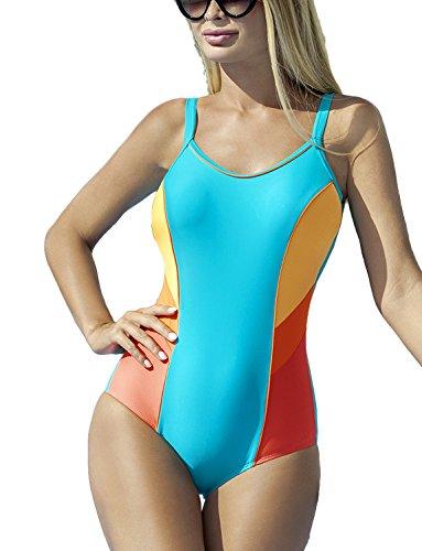 Ewlon Perla Badeanzug Dame Bademode Schwimmbad regulierbar musterlos EU, Größe 36, türkis-orange
