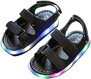 Florencinid Moda Lámparas LED para bebés Ropa de Playa de la Zapatilla de Cuero PU Zapatos de Verano de la Cinta mágica Superior