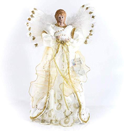 40cm Baum Top Engel mit Feder Flügeln in Gold oder Silber gold