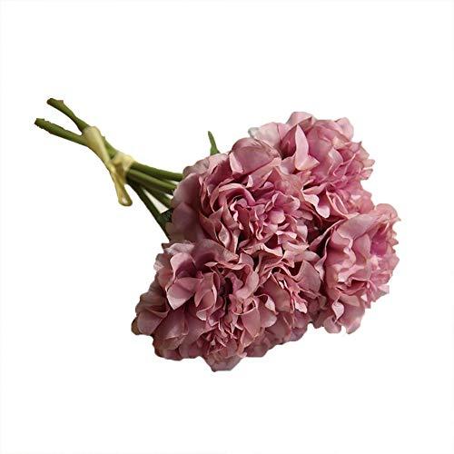 GanYu - Ramo de peonías artificiales para decoración de boda, jardín, familia, restaurante, oficina, Cristal morado., 26cm*14cm