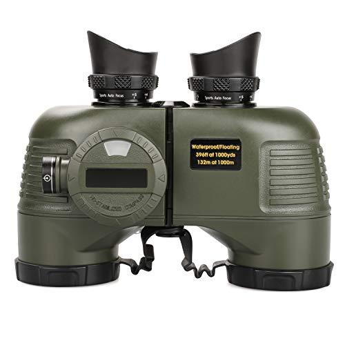 10x50 Binoculares Ultimate HD para Navegación - Bak4 FMC Óptica de Alta Definición - Analógico Iluminado Telémetro Brújula - Impermeable Durable para Navegar Adultos - Ejercito Verde