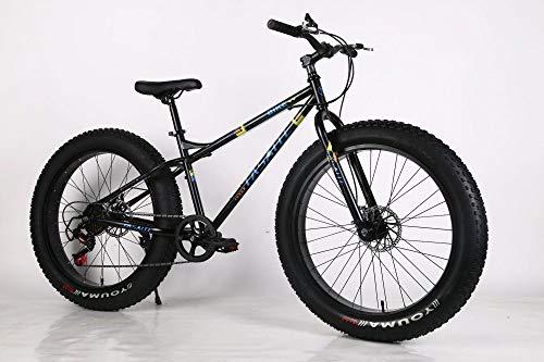 WANG-L Bicicleta De Montaña De 26 Pulgadas para Hombres Adultos Mujeres Motos De Nieve 4.0 Neumático Grande Ensanchado Velocidad Variable Freno De Disco Doble Bicicleta MTB,Black