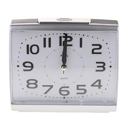 love lamp Despertador Ticking Silent Cuarzo cabeceras analógicas no Despertador con luz Nocturna y Pausa Bip Reloj Despertador con Pilas Reloj (Color : Silver)