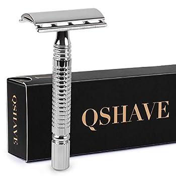 Qshave Men or Women Short Handle Classic Double Edge Lighter Travel Safety Shaving Razor 1 Pc