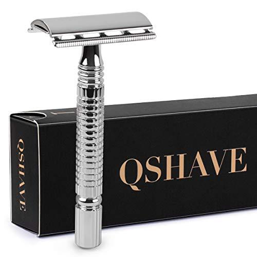 Qshave - Maquinilla de afeitar clásica de doble filo para hombre o mujer, mango corto, 1 unidad