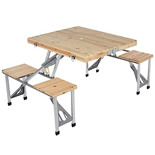 LKOPUo Portable Picnic Table Bench Set, Outdoor Wooden Camping Dining Table, 4-Person Fold Up Travel Garden BBQ Party Table, with Chairs And Umbrella Hole, for Patio Backyard Beer Table