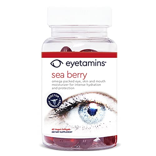 Eyetamins Sea Berry Eye Health Supplement - 60 Softgels - Omega Packed Eye, Skin and Mouth Moisturizer for Intense Hydration - Himalayan Sea Buckthorn Oil - Vegan and Non-GMO Formula